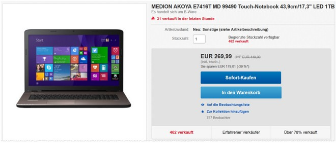 Medion akoya e7416t md 99490 f r 269 99 for 99490