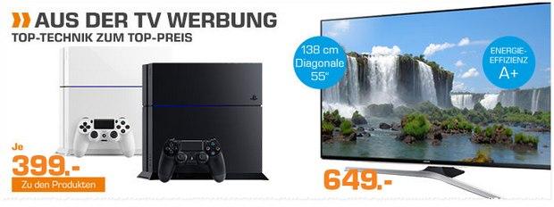 Saturn-Angebote aus der Werbung: PlayStation 4 und Samsung-Fernseher UE55J6250SU