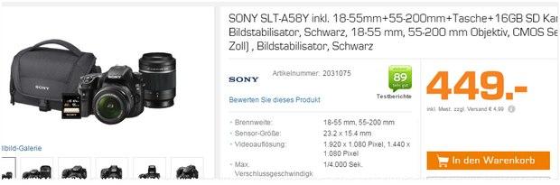 Sony SLT-A58Y als Saturn-Angebot aus der Werbung für 449 €