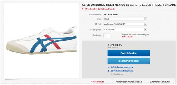 Asics Onitsuka Tiger Mexico 66 Sneaker unter 45 Euro