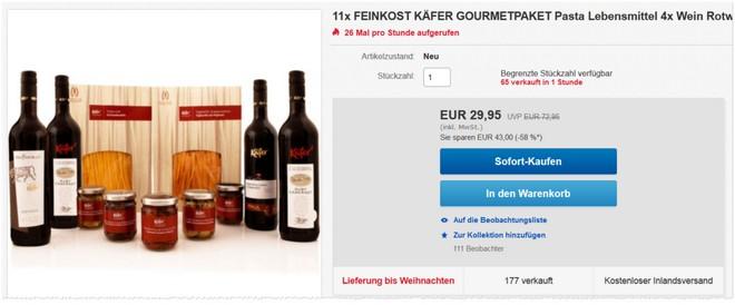 Feinkost Käfer Gourmetpaket bei eBay für 29,95 €