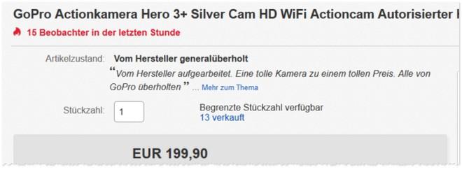 GoPro Hero 3+ Silver generalüberholt