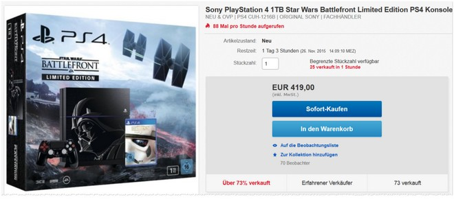 PlayStation 4 in der Star Wars Battlefront Limited Edition