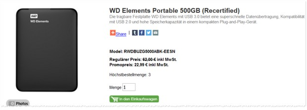 WD Elements Portable als B-Ware / recertified