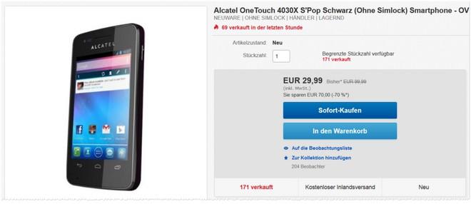 Alcatel OneTouch 4030X S'Pop ohne Vertrag