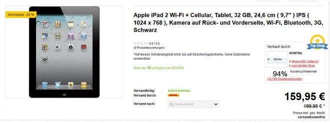 Apple iPad 2 ohne Vertrag (Cellualar, 32 GB) als Demoware