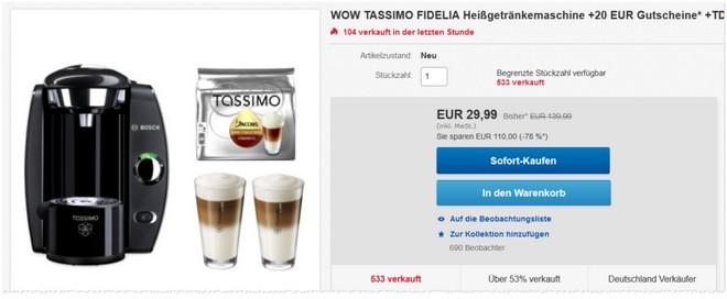 Bosch Tassimo Fidelia Angebot