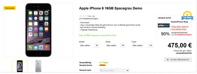 Apple iPhone 6 (Demoware, neuwertig)