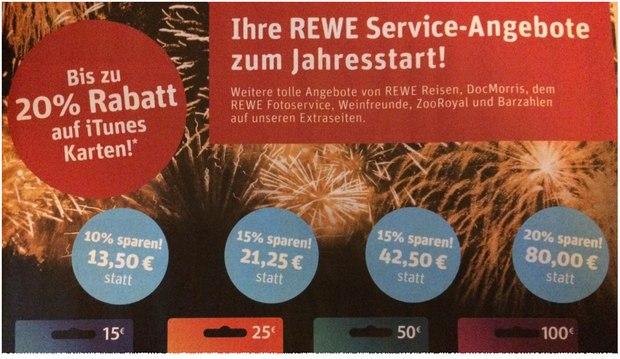 iTunes-Rabatt bei REWE ab 4.1.2016: Bis zu 20% günstigeres Guthaben