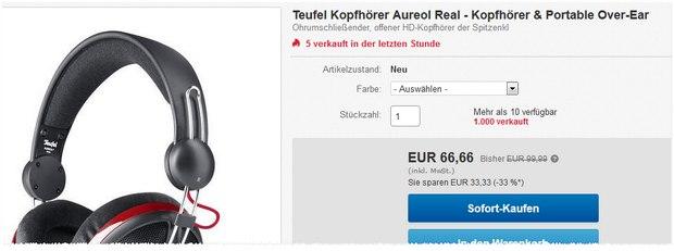 Teufel Aureol Real: Kopfhörer für reduzierte 66,66 € im Teufel-Shop bei eBay (14.1.2016)