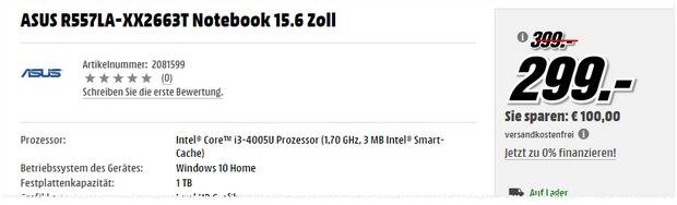 "15,6"" Notebook Asus R557LA-XX2663T aus der Media-Markt-Werbung ""Knallhart kalkuliert"""