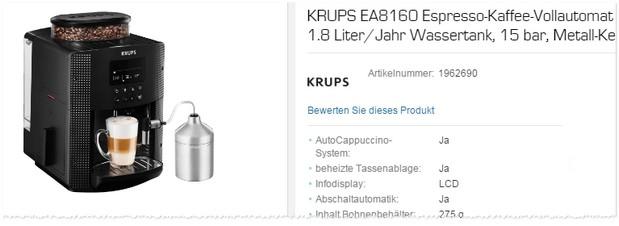 Krups Kaffeevollautomat EA8160