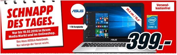 Asus-Notebook A555LA-XX2697T aus der Media-Markt-Schnapp-des-Tages-Werbung für den 18.2.2016 nur 399 €
