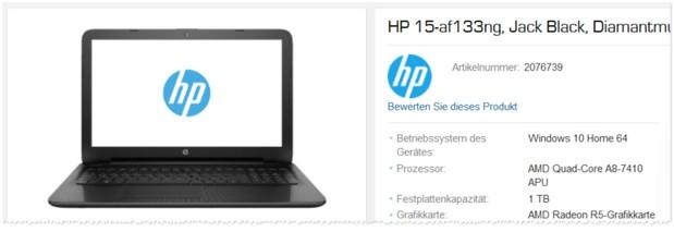 HP Notebook 15-af133ng aus der Saturn Werbung