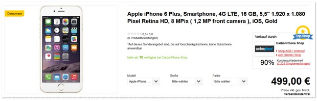Apple iPhone 6 Plus Demoware - ohne Vertrag
