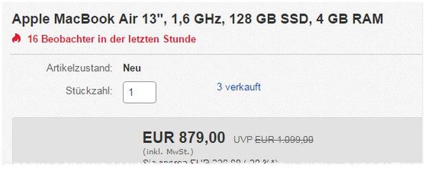 MacBook Air Tagesangebot vom 5.1.2016 für 879 €