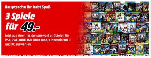 3 Spiele für 49 Euro bei Media Markt ab 20.1.2016