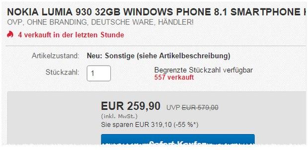 Lumia 930 B-Ware für 259,90 € bei eBay