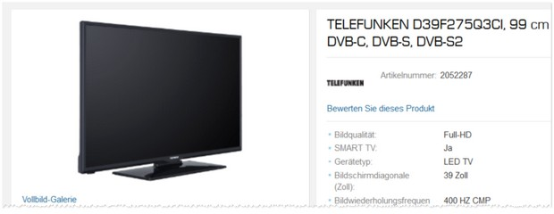 Telefunken Fernseher D39F275Q3CI