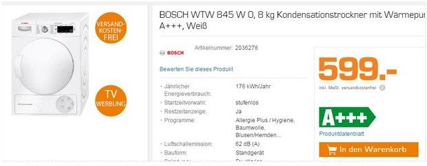Bosch-Trockner WTW 845 als Saturn-Angebot für 599 €