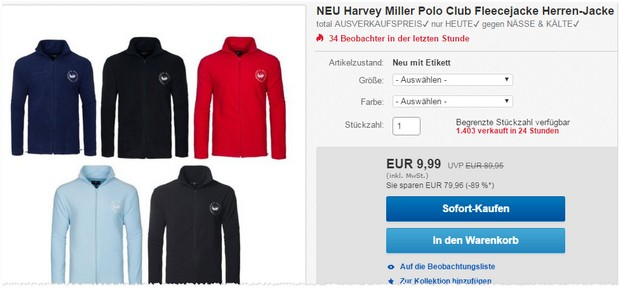 Harvey Miller Fleecejacke
