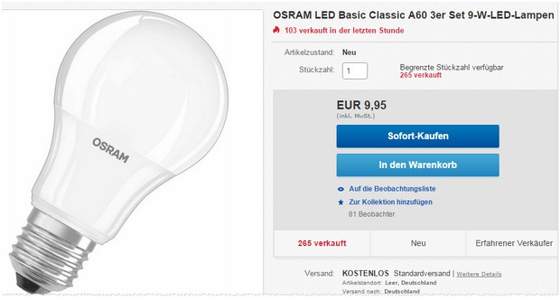 6 osram led lampen als ebay wow angebot am 18. Black Bedroom Furniture Sets. Home Design Ideas