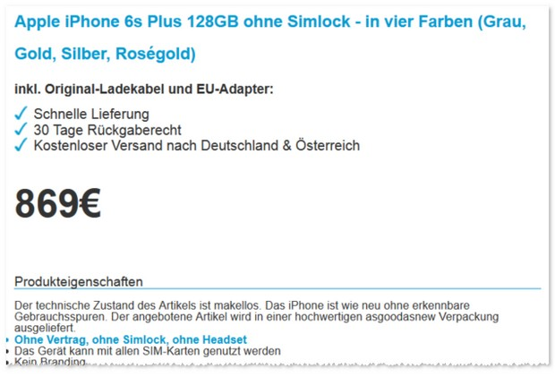 Apple iPhone 6S Plus ohne Vertrag