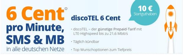 discoTEL 6 Cent Prepaid-Tarif