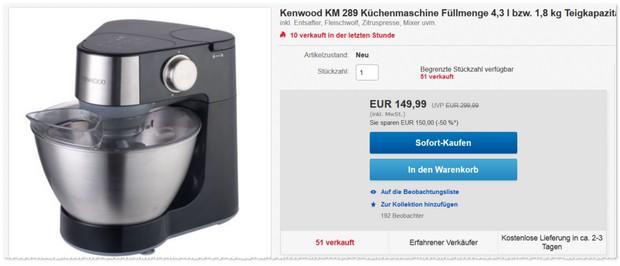 Kenwood Küchenmaschine Prospero KM 289