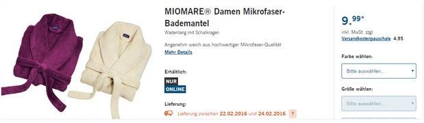Miomare-Bademantel als LIDL-Angebot ab 22.2.2016 für 9,99 € pro Stück