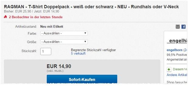 Ragman T-Shirt Doppelpack für 14,90 € bei eBay