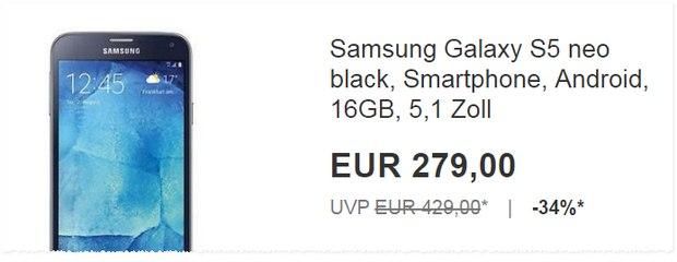 Samsung Galaxy S5 Neo ohne Vertrag für 279 Euro