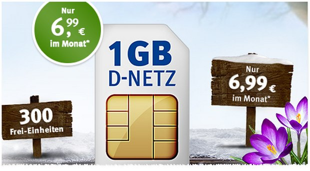 Der 1&1 WEB.DE Handytarif All-Net 300 bietet für 6,99 € im Monat ein Kontingent aus 300 Einheiten und 1 GB Internet-Flat