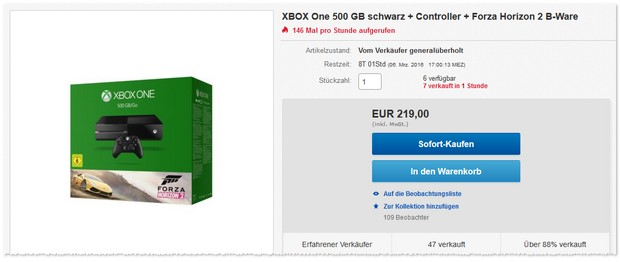xbox one angebot neu oder b ware bei ebay. Black Bedroom Furniture Sets. Home Design Ideas