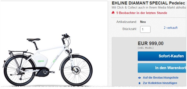 ehline diamant special e bike f r 899 10 bei ebay. Black Bedroom Furniture Sets. Home Design Ideas