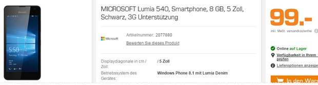 Lumia 540 bei Saturn für 99 €