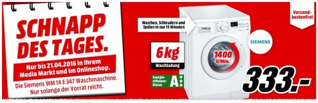 Siemens Waschmaschine als Media Markt Schnapp des Tages bis 21.4.2016