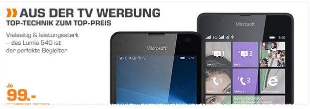 Saturn Angebot aus der Werbung: Lumia 540 für 99 €