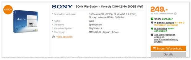 Sony PlayStation 4 bei Saturn im Angebot für 249 €