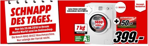 Media Markt Schnapp des Tages bis 20.6.2016 (morgen): Bosch-Waschmaschine WAQ 28422 für 399 € + 50 € Coupon-Geschenkkarte